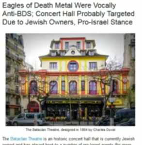 """Is that a bloody ""satanic heart"" smeared all over the floor of the Bataclan – or an Eye of Horus? Is it just a coincidence that the Eagles of Death Metal's lead singer is nicknamed ""the Devil"" and brags of having sold his soul to Satan…and that one of their memorable songs has the refrain ""next stop San Bernardino""? That the Bataclan shooting started during an anthem to the devil? And what about the numerology of 11/13/15, 11th arrondissement, etc. – the stuff famously explored, with regard to earlier false flags, by Captain Eric May?"" Source"