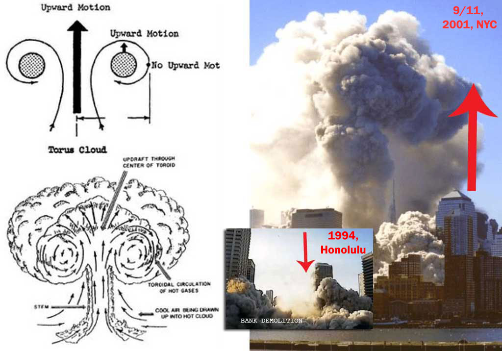 9/11. Upward burst of nuclear Torus debris cloud. Compare to typical controlled demolition below, wherein the debris is blown downwards.
