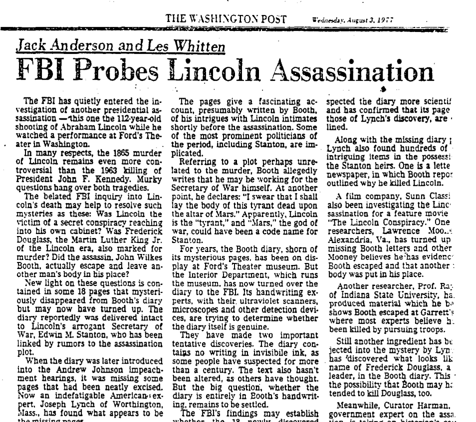 FBI investigates Lincoln-Kennedy parallels