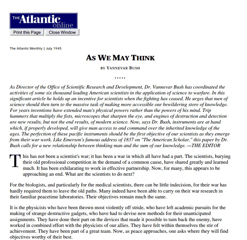 The Atlantic Online  July 1945  As We May Think
